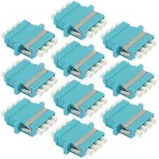 10x LC/UPC OM3 MultiMode Fiber Optic Optical Quad Adapter Coupler w/ Flange Aqua