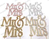 Or Rose Fantaisie Mr /& Mrs Mariage Strass Rhinestone Gem cake topper