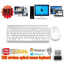 Wireless Keyboard Mouse Comb Cordless USB 2.4Ghz PC Laptop Desktop MAC Silver