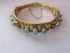 Vintage Chinese Jade Cabochons Domes Filigree Vermeil Silver Bracelet