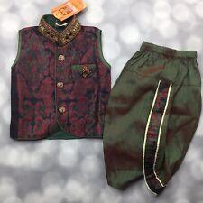 Ethnic Wear Sleeveless Kurta & Dhoti Boys 00 Paisley Bead Jewel Brooch