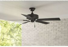 52 In. Indoor Outdoor Natural Iron Ceiling Fan Wet Rated Metal Black Energy Star