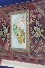 SCRAP BOOK ca 1880's PINK ROSE ON COVERED LOADED W/ DIE CUTS, TRADE CARDS PUPPY