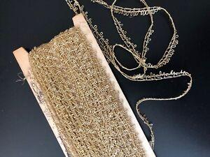 ANTIQUE TRIM -  CIRCA 1900's, LOVELY NARROW FRENCH GOLD METALLIC LACE TRIM