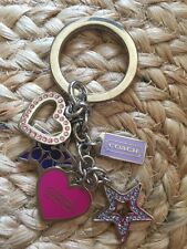 Coach~Hearts&Stars Girlie Crystal Pink And Purple•Multi Mix Key Chain /Ring /Fob