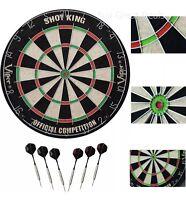 """Viper SHOT KING Sisal Fiber Bristle Dartboard Official 18"""" 2 Sets SteelTip Darts"""