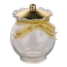 Vintage Chic Style Ornate Fluted Glass Gold Metal Trinket Pot Jar
