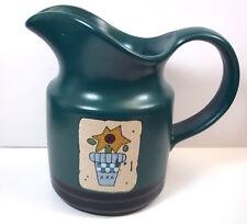 Pfaltzgraff SOLSTICE stoneware creamer with flowerpot decal