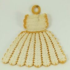 Crocheted Pot Holder Yellow and White Yarn Homemade