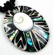 PAUA ABALONE, CONE SHELL, SHIVA EYE necklace ; DA353