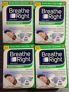 BREATHE RIGHT Clear Nasal Strips EXTRA STRENGTH Sensitive Skin (44) ea TOTAL 176