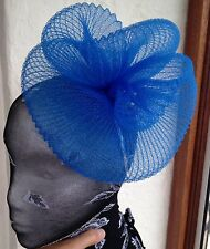 Blue fascinator millinery burlesque wedding hat hair piece ascot race bridal