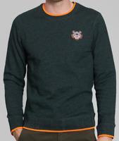 Kenzo Embroidered Tiger Sweatshirt with Orange Highlights- Pine Green
