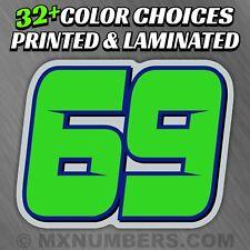 3 Motorcycle Number Plate Race Color Decals Sticker Mx Atv Sx Bmx Dirt Bike Kart