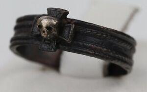 GERMAN ww2 RING Iron Cross STERLING Silver SKULL wwII or WW1 wwI GERMANY Jewelry
