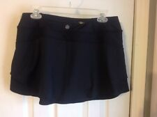 Athleta Black Split Time Skort Skirt Mesh Layered Zip Back Pocket EC SZ M Skort