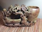 """LG Chinese Antq Soapstone Carved Brush 2 Vase Pot Flowers Tree 11 x 7"""" red brown"""