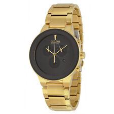 Citizen Axiom Eco Drive Chronograph Black Dial Gold-tone Mens Watch-AU
