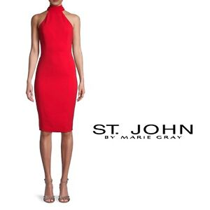 NEW St John Women's Fire Red Choker Wool Dress Halter Size 10