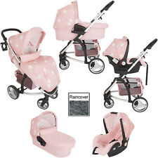 MY BABIIE MB200 TRAVEL SYSTEM PINK STARS PRAM PUSHCHAIR MODE
