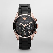 Emporio Armani Black/Rose Gold Quartz Analog Unisex Watch AR5906