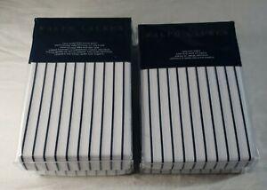 Ralph Lauren Prescot Stripe Navy Cotton Twin Fitted Sheet & Twin Flat Sheet