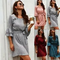 Women's Pullover Sweater Ruffle Sleeve knit Dresses Strappy Warm Holiday Dress