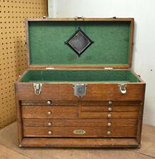 L1 Vintage 20 Gerstner Amp Sons Oak 7 Drawer Machinist Tool Chest Box Toolbox