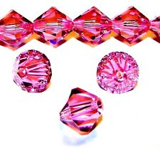 CB517e Rose Pink 8mm Faceted Bicone Cut Crystal Glass Beads 12/pkg