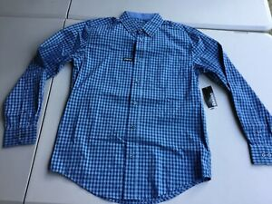 George Button Up Wrinkle Resistant StretcH Dress Shirt Small Blue Plaid #313U