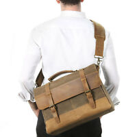 "Lifewit 15.6"" Men Messenger Bag Vintage Canvas Leather Shoulder Laptop Handbag"