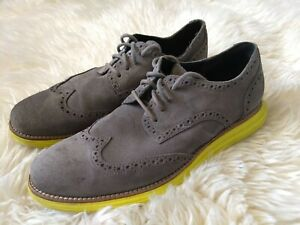 COLE HAAN LUNARGRAND WING.TIP CHARCOAL GREY SUEDE YELLOW C10226 10.5