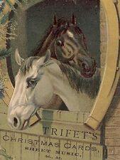 TRIFET'S CHRISTMAS CARDS & MUSIC, LG BOSTON TRADE CARD, 2 BEAUTIFUL HORSES TC584