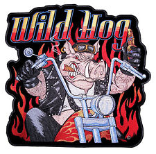 Large Very Colorful Wild Hog Biker On Motorcycle, Flames Embroidered Biker Patch