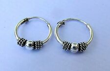 Pair Of Sterling Silver ( 925 )Ball  Bali  Hoop Earrings 10  mm  !!     New !!
