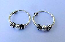 Pair Of Sterling Silver ( 925 )Ball  Bali  Hoop Earrings 10  mm  !!     New !!