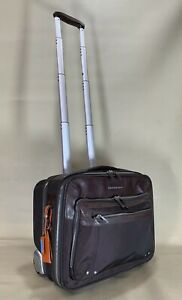 "Piquadro Brown Ballistic Nylon 17"" Upright Wheeled Laptop Bag Carry On Briefcase"