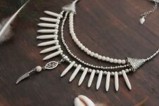 Beautiful Handmade 3 Layer Silver & White Turquoise Spike Feather Charm Necklace