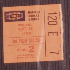 """Queen"" Freddie Mercury ""The Game"" Stub Madison Square Garden Nyc Sept 29 1980"