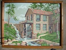 """Vintage  PBN Paint by Number Painting water wheel/ Mill -Bamboo frame 13 x17"""""""