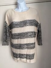 GEORGE size 10 cream and black striped jumper 3/4 sleeve sequin pattern ladies