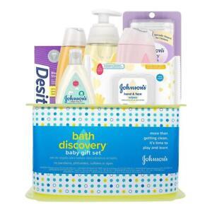 Baby Bath Gift Set Johnsons 7 Pc Lotion Shampoo Hand Face Wipes Boy Girl New