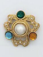Vintage Rhinestone Faux Pearl Cabochon Brooch Pin Ornate Gold Tone Metal