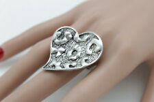 New Women Silver Love Heart Ring Big Metal Elastic Band One Size Fashion Jewelry