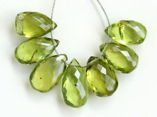 Natural Green Peridot Faceted Pear Briolette Semi Precious Gemstone Beads
