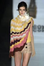 MISSONI RUNWAY ZIG ZAG STRIPED TURTLENECK COWL NECK PONCHO CAPE IT 42