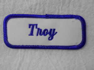 TROY USED EMBROIDERED VINTAGE SEW ON NAME PATCH TAGS ASSORTED COLORS AVAILABLE