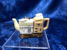 "Authentic French Limoges Trinket Box ""The Kitchen Sink"" Tea Pot Peint Main"