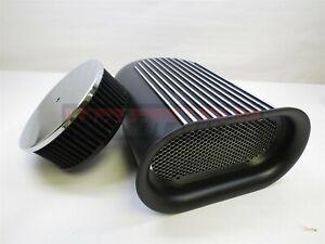 Black Aluminum Hillborn Mini Finned Hood Air Scoop Single 4BBL BlowerHotRod Wash
