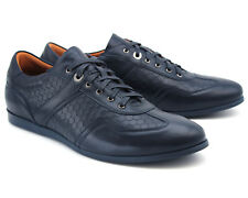 BRAND NEW LACUZZO ITALIAN STYLE MEN'S NAVY BLUE LEATHER TRAINERS UK 7 / EU 41